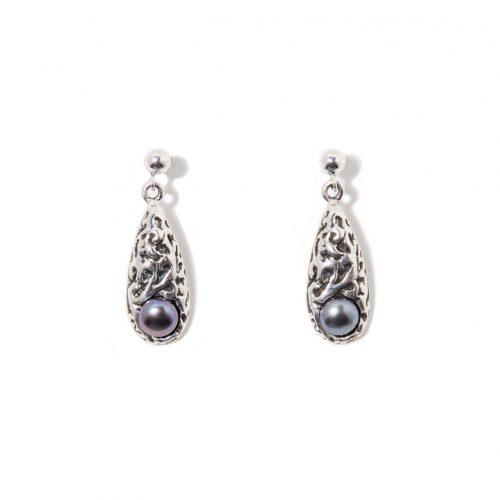 Boucles d'oreilles Merveille en argent sterling et perle de culture. Bijou SCARO.