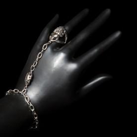 Bague-Bracelet Cléopâtre en argent sterling avec scarabées. Bijou fait au Québec.
