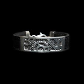 Bracelet Engrenage en argent sterling et cuir. Bijou fait au Québec à la main par SCARO.