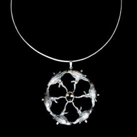 Collier Le cercle des sages en argent sterling et quartz enfumé. Bijou haut de gamme fait au Québec, Canada.