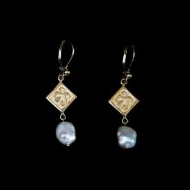 Boucles d'oreilles Baroque - or en or 14K jaune et perle baroque. Bijou fait au Québec.