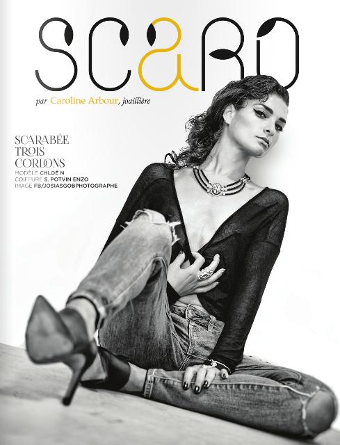 Revue SCARO, avec articles de personnalités, blogueuses et entrevues avec la joaillière Caroline Arbour, fondatrice et créatrice des bijoux haut de gamme SCARO.
