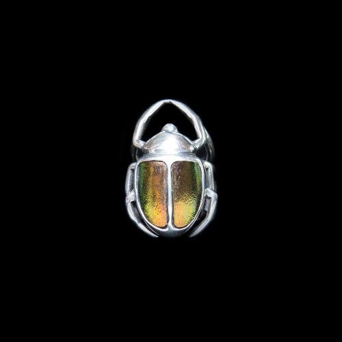 Bague-L-Ensorceleur-orange-en-argent-sterling-et-elytres-de-scarabees.-Bijou-fait-a-la-main-au-Quebec.