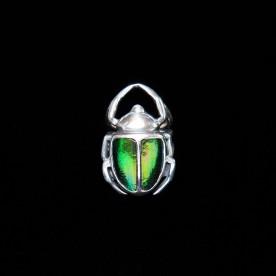 Bague L'Ensorceleur - vert en forme de scarabée en argent sterling et élytres de scarabées. Bijou fait au Québec. Bijoux scarabées.