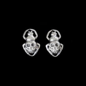 Boucles d'oreilles Bad Ass en forme de tête de mort, en argent sterling. Bijou SCARO.