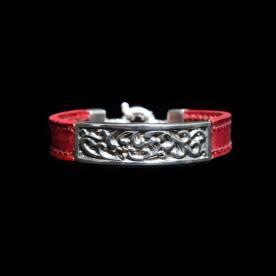 Bracelet Bellissima en argent sterling et cuir de veau. Bijou fait au Québec.