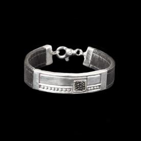 Bracelet Galuchat en argent sterling et cuir de galuchat. Bijoux SCARO fait au Québec.